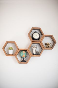 Hexagon Shelves Wood Floating Shelves Modern by HaaseHandcraft