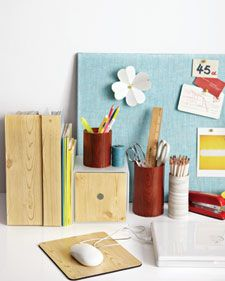 If you can peel and stick, you can bring a natural note to your home office with coordinated wood-grain accessories. All it takes to make a matched set of mouse pads, file boxes, and straight-sided glass jars is self-adhesive shelf liner. Cut the paper just larger than the surface you want to cover, apply, and trim excess with a craft knife.