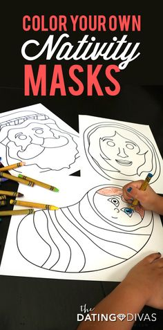 Color your own nativity masks and then act out the Christmas story as a family. This post has 15 PAGES of FREE nativity masks and props to use! Such a fun family Christmas tradition. www.TheDatingDivas.com