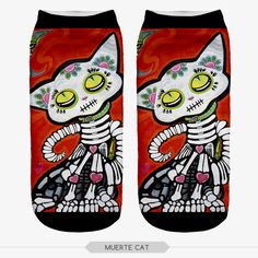 10 pieces/pack 3D Print skeleton cat Harajuku Cute winter Unisex Cartoon Low Cut Ankle Calcetines Mujer Short Socks Women sock #Affiliate