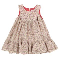 Sleeveless dress made of flowing flower-printed viscose fabric. Three buttons at the back. Flounced hem. - 28,00 €