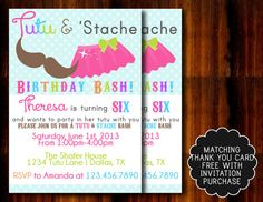 Tutu and Mustache Bash Birthday Invitation by APartyBoutique, $12.00