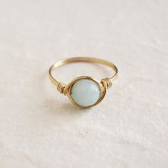 Mint Jade ring - unique ring - cute ring - wire wrapped ring