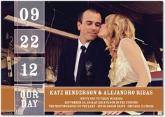 Signature White Wedding Invitations Our Date - Front : Rust