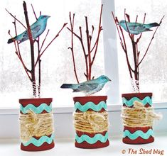 Mini Trees with Birds Spool Craft - Reader Featured Project on The Graphics Fairy