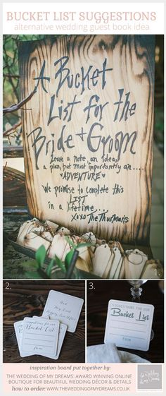 Alternative Wedding Guest Book Idea: Suggestions For Our Bucket List
