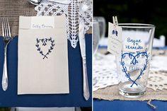 26 blau hochzeit dekoration vintage jute spitze blau Portrait glas dekoraiton herz name Eine blaue Hochzeit – die Farbe der Himmel und des Meers
