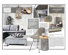"""""""Concrete Coffee House"""" by monicavast ❤ liked on Polyvore featuring interior, interiors, interior design, home, home decor, interior decorating, GURU, Therapy, contemporary and grey"""