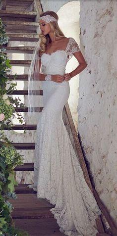 Lace Wedding Dress, Bohemian Wedding Dress, Halter Slim Fishtail Wedding Dress