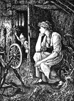 "Rumpelstiltskin - There was once a poor Miller who had a beautiful daughter; and one day, having to go to speak with the King, he said, in order to make himself appear of consequence, that he had a daughter who could spin straw into gold. The King was very fond of gold, and thought to himself, ""That is an art which would please me very well;"" and so he said to the Miller, ""If your daughter is so very clever bring her to the castle in the morning, and I will put her to the proof."""