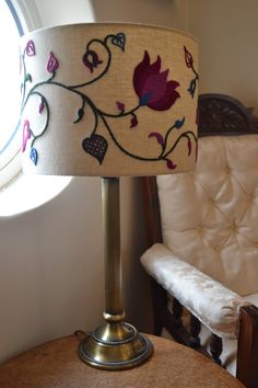 My Summer crewelwork embroidery lampshade with swirling stylised stems, leaves and petals is now available as a kit. Autumn, Spring and Winter colourways are also available. Kit includes linen twill fabric, with the design transferred by hand onto the fabric, comprehensive