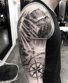 tattoo designs men & tattoo designs - tattoo designs men - tattoo designs for women - tattoo designs unique - tattoo designs men forearm - tattoo designs men sleeve - tattoo designs men arm - tattoo designs men small Mountain Sleeve Tattoo, Forest Tattoo Sleeve, Nature Tattoo Sleeve, Forest Tattoos, Arm Sleeve Tattoos, Sleeve Tattoos For Women, Tattoo Sleeve Designs, Tattoo Designs Men, Mountain Tattoos