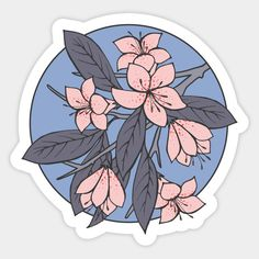 Sakura Branch - Rose Quartz + Serenity Art Print by Olooriel - X-Small Anime Stickers, Phone Stickers, Kawaii Stickers, Journal Stickers, Cool Stickers, Printable Stickers, Homemade Stickers, Bubble Stickers, Aesthetic Stickers