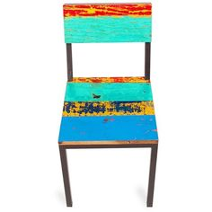 Clear the way, for a dining chair that's so versatile you'll want more than one. Gangway's colorful reclaimed-wood planks are offset by match-any-decor, renewable-resource iron from bridges.