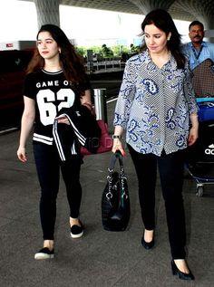 Sachin Tendulkar's wife Anjali Tendulkar and daughter Sara Tendulkar at Mumbai airport