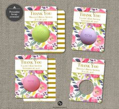 Printed Baby or Bridal Shower Floral Watercolor Party Favors for EOS lip balm | Thank You Tags | Floral eos tags | Favor Tags| No. P-FLR-EOS