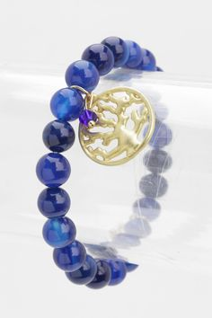 TREE OF LIFE STRETCH BRACELET (BLUE) - $18.00