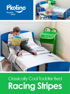 "P'kolino's Classically Cool Toddler Bed    A playfully smart transition to a ""big kid"" bed! Children will love to cozy up in this classically cool bed and drift off into dream land. Fits any standard size crib mattress and is equipped with sturdy side rails to help keep children safe in place."