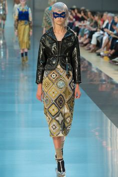 Pencil-ish skirt with crocheted motifs and crochet-framed leather on the diagonal from John Galliano. (Maison Margiela Fall 2015 Couture)