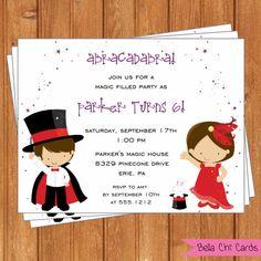 Magic Kids Birthday InvitationsKBI326DIY 5.5 X by BellaChiCards, $14.00