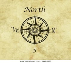 great north arrow and compass on old parchment map with copy space by clearviewstock, via ShutterStock