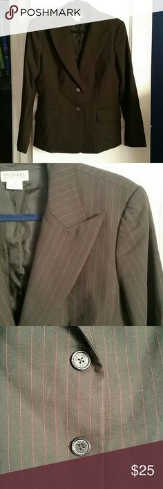 Michael Kors Pinstripe Blazer Black blazer with red pinstripes. Two faux pockets to front. MICHAEL Michael Kors Jackets & Coats Blazers