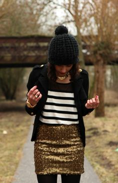 fashion - streetstyle - sequined skirt and striped top