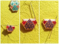 After seeing beautiful Miyuki beads creations on Pinterest, I was really curious about discovering this interesting beading technique to make pendants and brooches. The stitch used to make them is called brick stitch due to the offset of the alternative rows. This technique is great to create jewels in any shape you like.