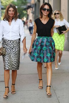 I like the printed skirt being back on trend ( bet they hate they are wearing the same shoes though!)