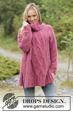 """Knitted DROPS oversized jumper with cables and turtle neck in """"Melody"""". Size: S - XXXL. Aran Knitting Patterns, Free Knitting, Drops Design, Garnstudio Drops, Warm Wine, Magazine Drops, Oversize Pullover, Crochet Woman, Fashion Seasons"""