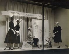 "1951 window display This window was done in 1951, and it was a take off of Christian Dior's ""New Look"""