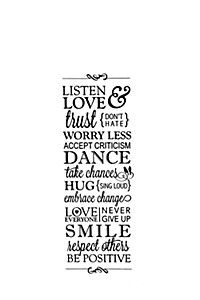 LISTEN AND LOVE 100X34CM VINYL WALL STICKER
