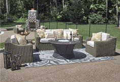 The Carvela Collection All Weather Wicker/Teak Patio Furniture Deep Seating Set w/Gas Fire Pit Table