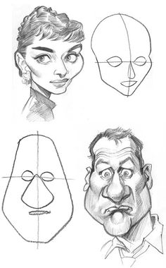 5 basic face shapes for caricature from Tom's MAD Blog.