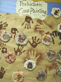 "These are samples of grade cave paintings on ""rock"" (no it is not traditional clay - read on to find out the crazy material we used). History Activities, Activities For Kids, Stone Age Ks2, Prehistoric Age, Kindergarten Art, Iron Age, Classroom Displays, Art Plastique, Elementary Art"