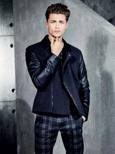 Wool biker style jacket with contrast leather sleeves and plaid pants