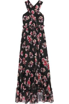 MSGM - Ruffled Floral-print Silk-chiffon Gown - Black - IT44