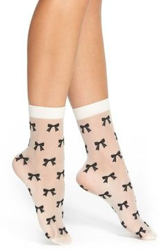 kate spade new york 'sweet' sheer bow print anklet socks available at #Nordstrom
