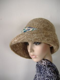 c1e119bb5df44a Felted Womens Cloche Hat with Extra Wide Brim Camel by Krystala, $60.00  Cloche Hat,