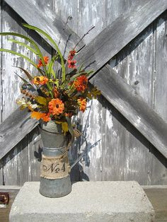 Rustic Milkcan with Mini Mums  Fall decor  by FireflyGardensByPam, $32.99