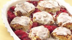 Make a convenient change to comfort-food cobbler:  Tasty refrigerated sweet rolls bake over a fruity filling in a warm, simply delicious dessert.