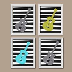 GUITAR Music Boy Girl Bold Colorful Print Michel Miller Inspired Artwork Set of 4 Prints WALL Decor ART Crib Nursery