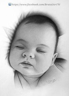 Graphite Baby Portrait.