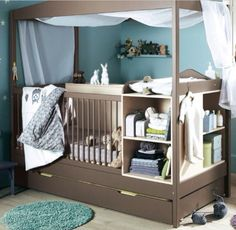 This is PERFECT!!! Crib with a changing table attached. Storage on the sides, a drawer at the bottom, and canopy at the top. In love.