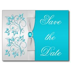 849fd3ed8204d Turquoise and Silver Floral Save the Date Announcement Postcard