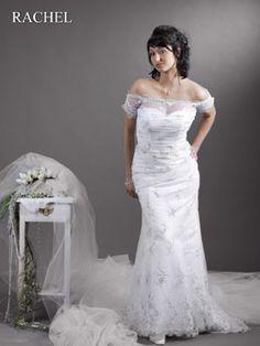 schlichtes XL Hochzeitskleid schmal schulterfrei - Cinderella-Traumkleid.de