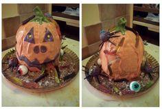 Torta per Halloween paurosa realizzata con pan di spagna al cioccolato crema mascarpone e nutella  #halloween #tortahalloween #tortepaurose