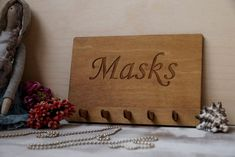 Face Mask Wall Hanger, Wood Sign, Entryway Organizer, Face Mask Hanger, Wooden Key Hanger, Wooden Key Holder or Wall Key Organizer Wooden Key Holder, Entryway Organization, Key Organizer, Wall Hanger, Handmade Wooden, Wood Signs, Place Card Holders, Etsy, Wooden Plaques