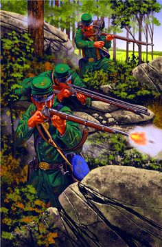 A trio of Hiram C Berdan's sharpshooters shooting from a covered position- The Union forces adopted this method meaning that their position was virtually impregnable- by Johnny Shumate