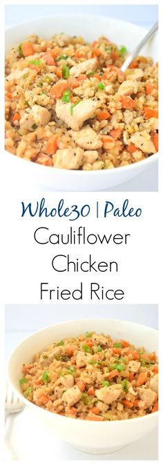 Whole30 Cauliflower Chicken Fried Rice - a fast, nutritious meal that tastes like take-out, but is free of soy and carbs! | tastythin.com